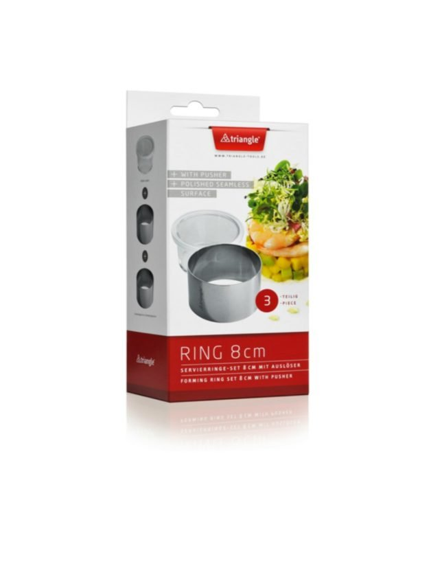 Forming ring set 8cm, 2 pc with pusher, boxed