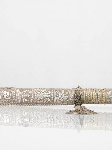 Κρητικό Παραδοσιακό Ασημένιο Σκαλιστό Μαχαίρι 37 εκ