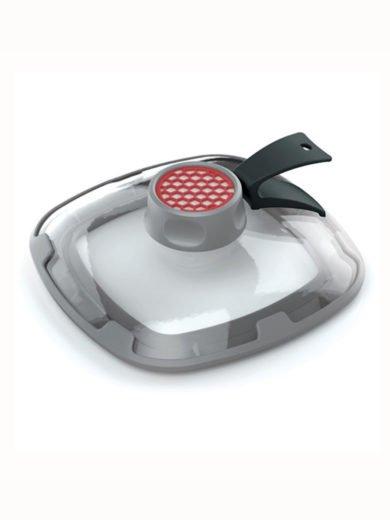 Woll Clean Lids Καπάκι από ενισχυμένο γυαλί τετράγωνο με φίλτρο ενεργού άνθρακα για σκεύη 24x24 έως 28x28 cm