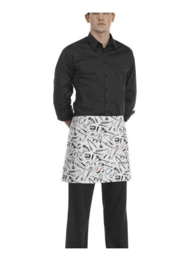 Egochef Ποδιά Μέσης 40x70 εκ Chefwear Άσπρη Με Σχέδια