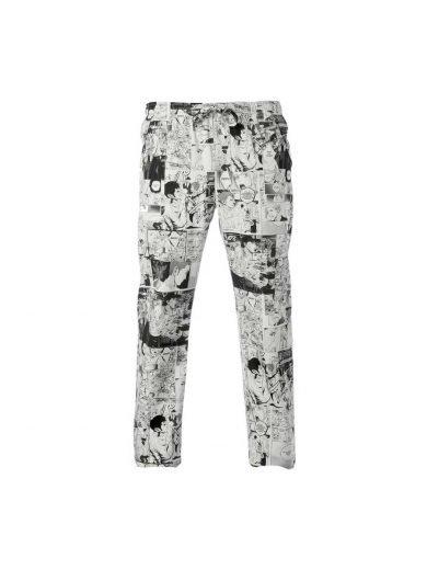 Giblor's Παντελόνι Σεφ Alan Άσπρο Μαύρο Με Σχέδια Comics