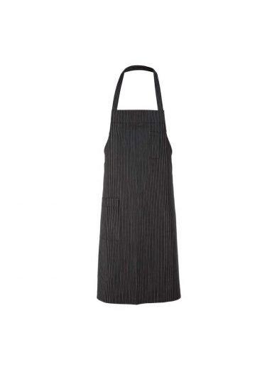 Ποδιά ολόσωμη μαύρη με ρίγες 100% βαμβακερή Bib black