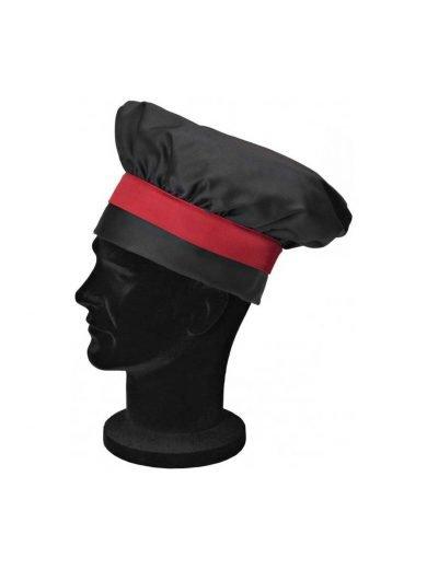 Giblor's Σκούφος Σεφ Toque Μαύρος Με Κόκκινη Ζώνη