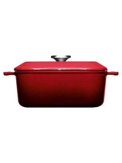 Χύτρα μαντεμένια 4.1 λτ. επισμαλτωμένη τετράγωνη κόκκινη 24x24 εκατ. Chili Red Iron
