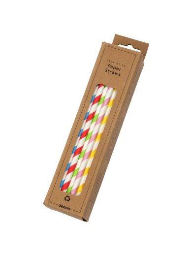 Dexam Καλαμάκια χάρτινα πολύχρωμα σετ 50 τμχ Striped