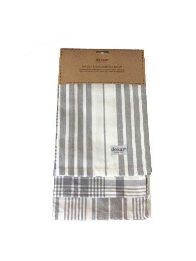 Dexam Πετσέτες Σετ 3τμχ  70x90 cm Slate Grey Γκρι Καρό
