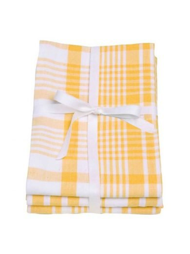 Dexam Πετσέτες Σετ 3τμχ 61x91cm Sunflower Κίτρινες Καρό