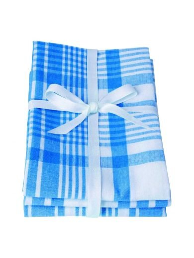 Dexam Πετσέτες Σετ 3τμχ 61x91cm Moroccan Blue Μπλε Καρό
