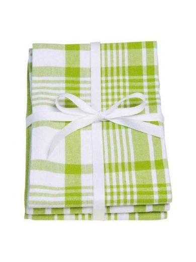 Dexam Πετσέτες Κουζίνας Βαμβακερές 100% Πράσινες Καρώ 61x91 εκ Σετ 3τμχ Greenery
