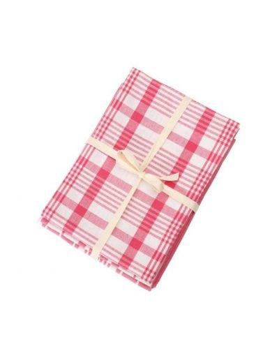 Dexam Πετσέτες Σετ 3τμχ  61x91cm Peony pink Ροζ Καρό