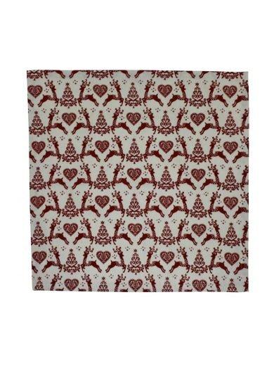 Dexam Πετσέτες Φαγητού Σετ 4 τμχ 40x40 cm Xριστουγεννιάτικες Καφέ Με Σχέδια