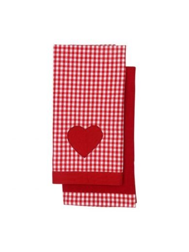 Dexam Πετσέτες Σετ 2τμχ 70x50 cm Vintage Κόκκινες Με Σχέδια